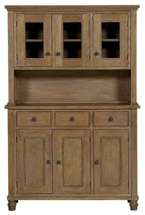 Dining Room Hutch Crate And Barrel Kipling Grey Wash Buffet With Hutch Top Traditional