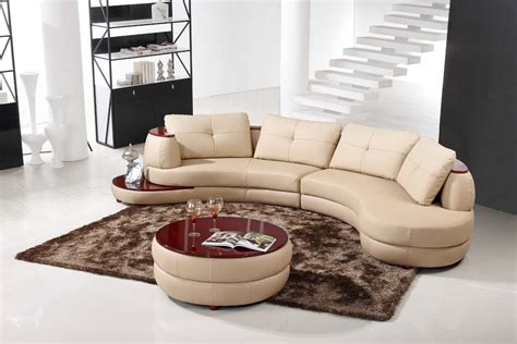 Curved Sofa Sectional Modern Contemporary Beige Leather Sectional Curved Sofa With Modern Ottoman Ebay