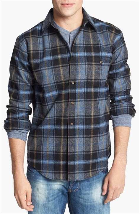 Flannel Topman Kemeja Topman Blue Patch pendleton trail fitted wool flannel shirt with