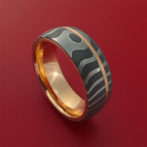 damascus steel tiger pattern 14k gold ring wedding