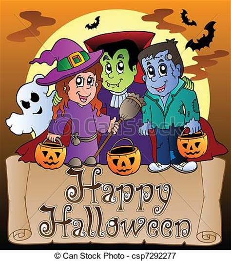 halloween themes line theme with happy halloween banner 3 royalty free eps