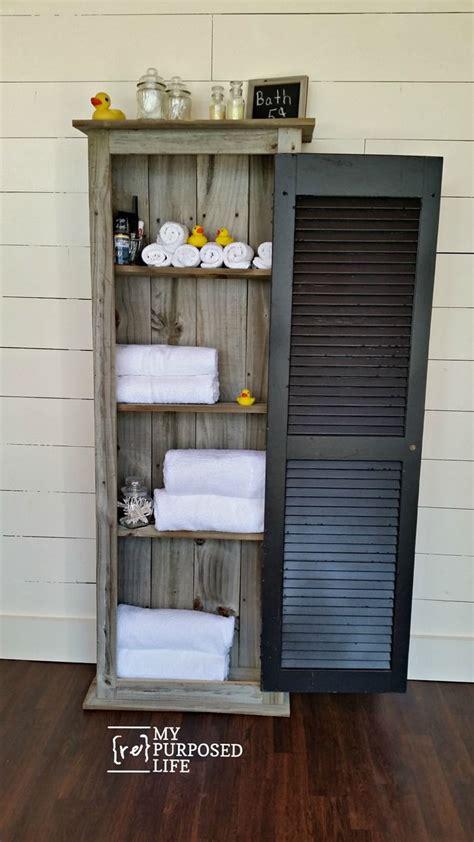 reclaimed wood bathroomguest room storage rustic shutter