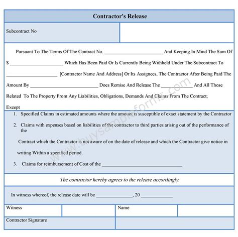 Contractor Liability Release Form Contract Release Form Template