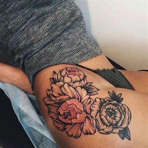 dope tattoos for females flower thigh flower