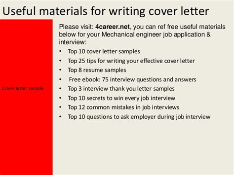 Materials Engineer Cover Letter by Mechanical Engineer Cover Letter