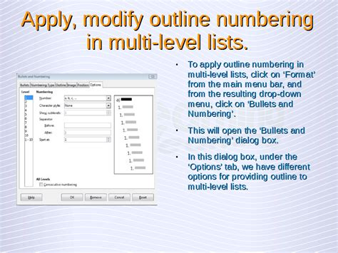 Multi Level Outlines Definition by Advanced Word Processing Lists