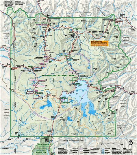 map of yellowstone park map of yellowstone national park travelsfinders