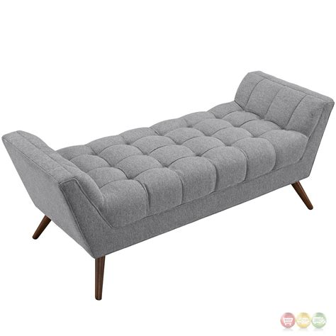 grey tufted bench response contemporary button tufted upholstered bench