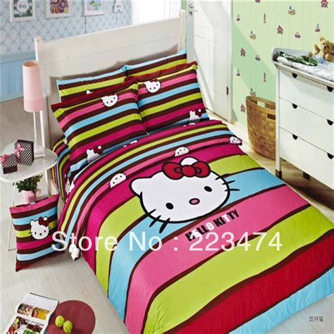 hello kitty queen size bedding free shipping cute gift 100 cotton hello kitty queen