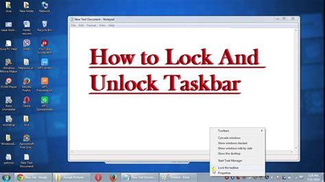 How To Lock Themes In Windows 7 | how to lock and unlock taskbar in windows 7 8 10 english