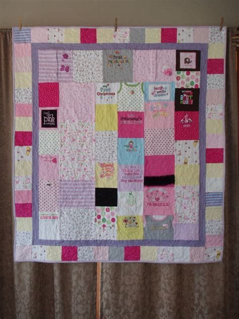 Patchwork Quilt Out Of Baby Clothes - throw size patchwork quilt made from baby clothes custom