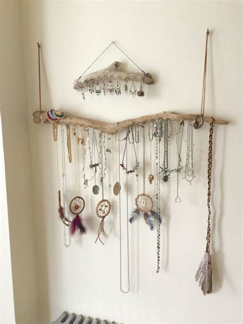 diy necklace hanger driftwood jewelry organizer wall hanging necklace holder