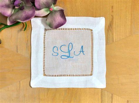 monogrammed linen napkins set of 4 monogrammed linen cocktail napkins 3 initial font c