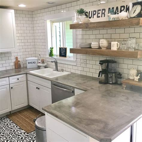 concrete kitchen countertops with white cabinets 30 best ideas about living rooms with white brick walls