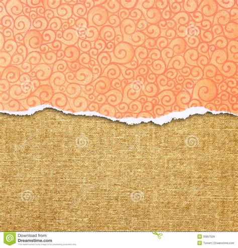 pattern over background orange torn paper edge with pattern over canvas background