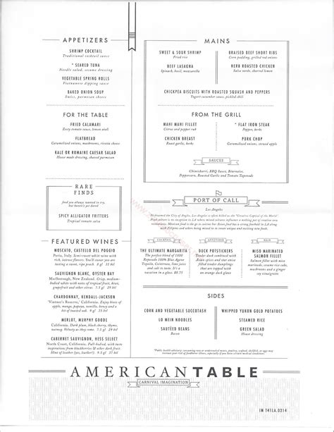carnival imagination american table mdr menus los angeles