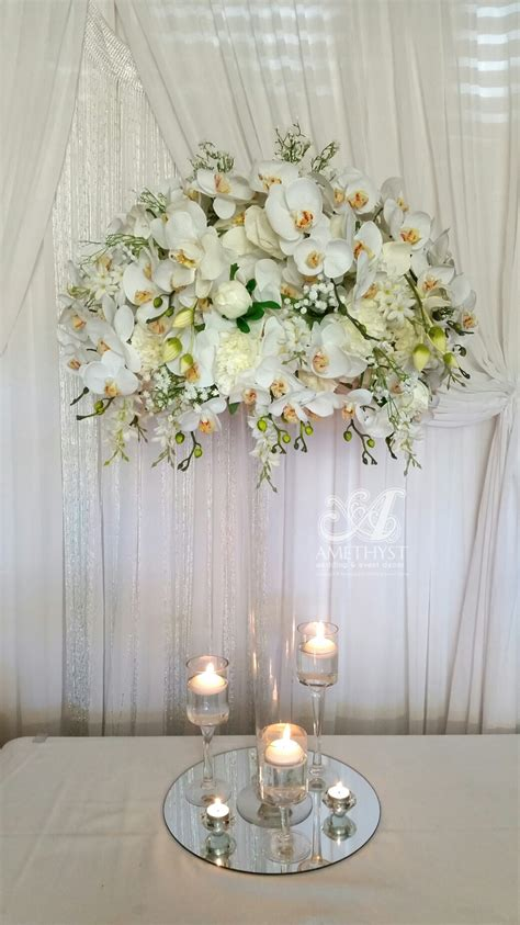 white orchid centerpieces white orchid centerpiece more info gt gt amethyst wedding event decor