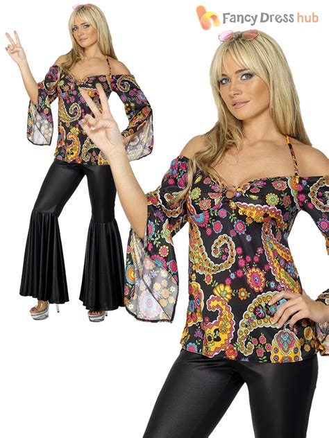 hippy fancy dress costume hippie womens 1970s 60 s