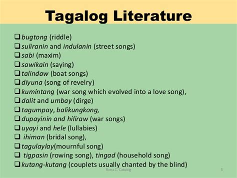 song in tagalog grade 7 philippine pre colonial literature