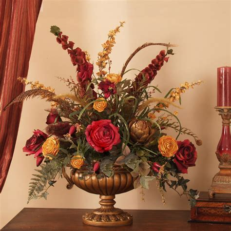silk arrangements for home decor grande red and gold silk floral centerpiece ar276 floral