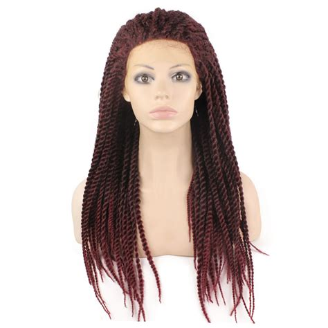 burgundy braiding hair hot sale synthetic heat resistant micro braided wigs