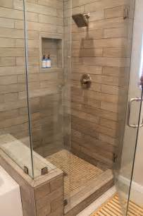 Faux wood tile in modern shower contemporary bathroom los
