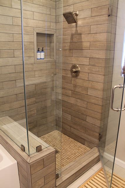 bathroom with wood tile faux wood tile in modern shower contemporary bathroom