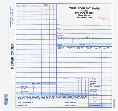 automotive repair work order template auto repair order forms arccc 645 and aro 655