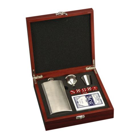 personalised office desk gifts personalized flask and playing card set in rosewood box