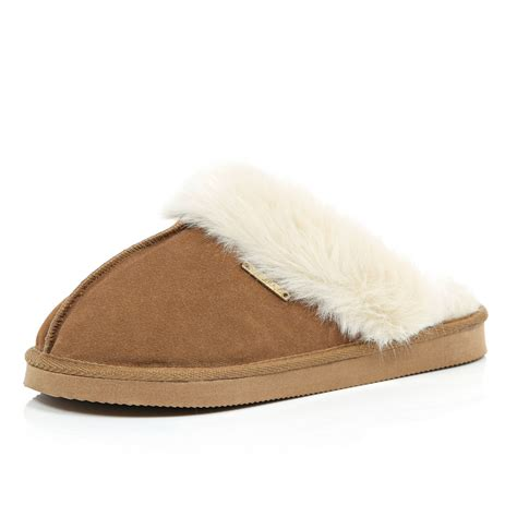 island slippers river island brown suede slippers in brown lyst