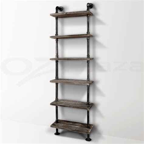 6 level rustic industrial diy pipe ladder tier shelf