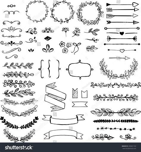 how to create elements in doodle set doodle design elements arrows wreath stock vector