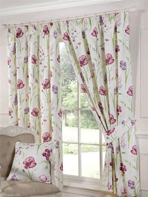 poppy curtains elsa floral poppy purple lined pencil pleat curtains der eille 9 sizes bedroom