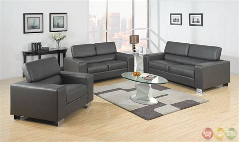 gray living room sets makri contemporary gray living room set with bonded leather match cm6336gy
