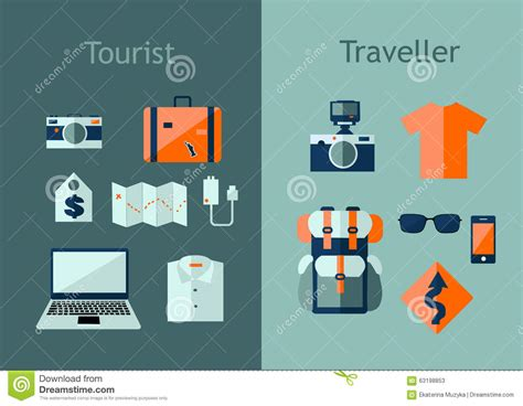 design elements concept map set of travel icons in flat style travel plan concept