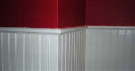 beadboard wainscoting  red accent wall office