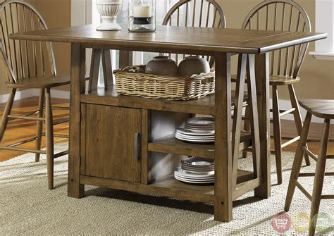 counter height kitchen tables with storage farmhouse counter height storage table casual dining set