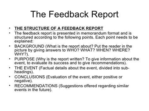 feedback report template revision the formal investigative report and feedback report