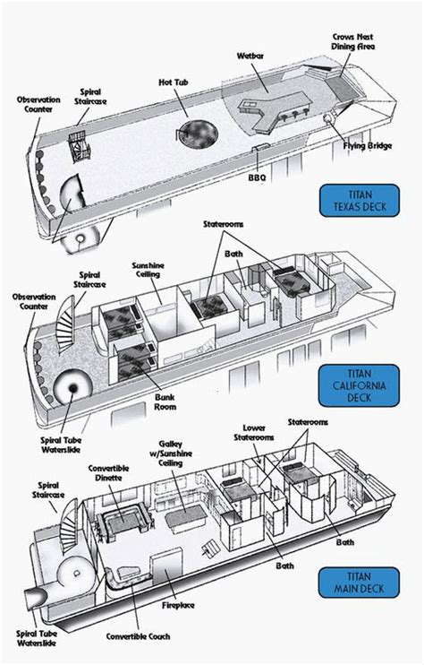 houseboat floor plans 65 foot titan houseboat