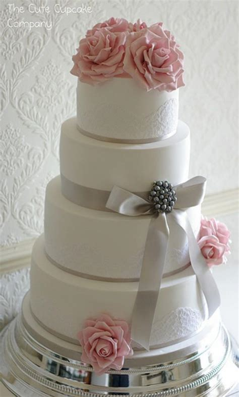 wedding cakes pink  dove grey wedding cake