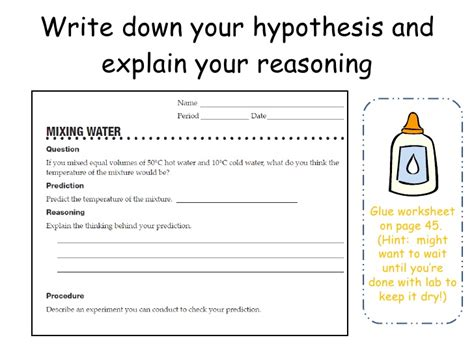 Writing A Hypothesis Worksheet