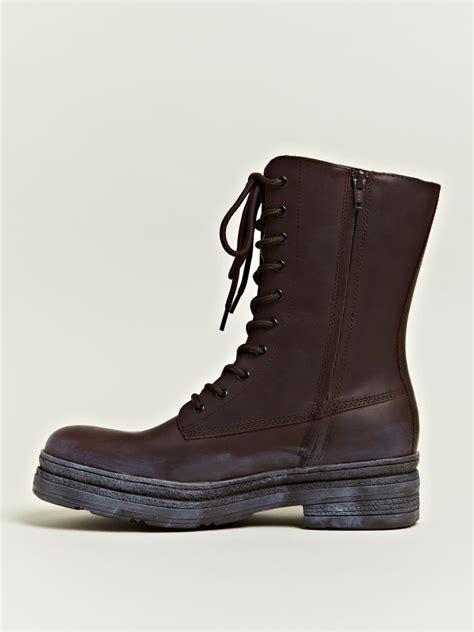 mens brown engineer boots yohji yamamoto mens leather engineer boots in brown for
