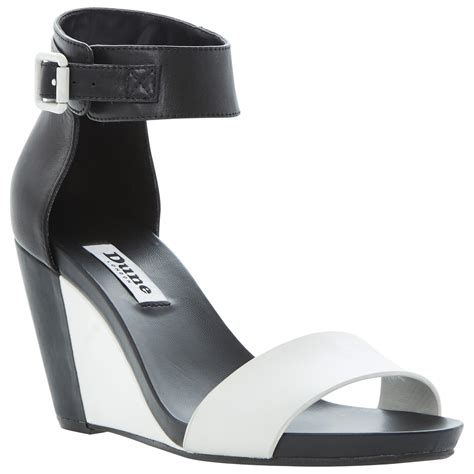 black and white wedge sandals dune grill leather wedge sandals in black black white lyst