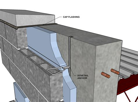 cast in place concrete wall section cavity wall concrete block veneer reinforced cast in
