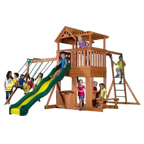 swing academy backyard discovery thunder ridge wooden swing set academy