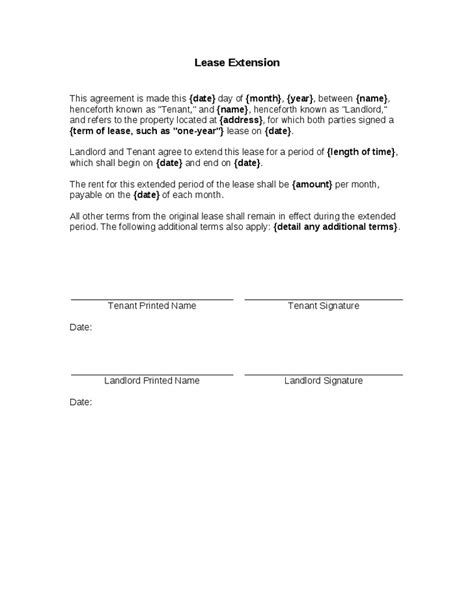 extension agreement documents company documents lease extension forms 8 free documents in pdf