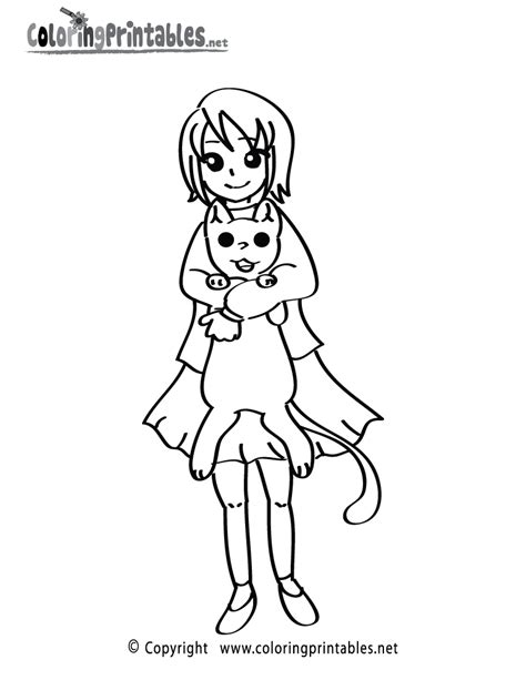 cat girl coloring page free printable girl cat coloring page