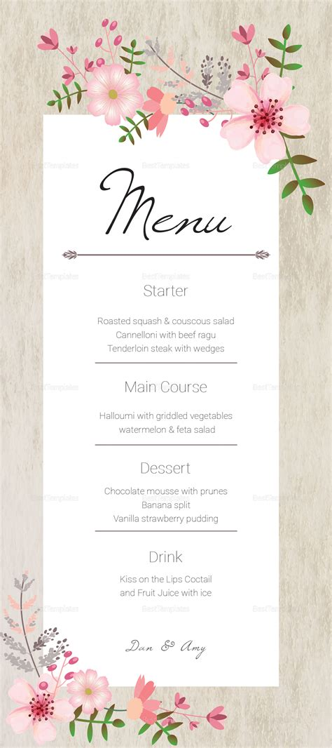 Menu Card Design Template Images