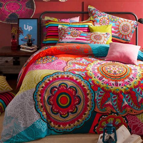 Full Queen Size 100 Cotton Bohemian Boho Style Colorful Colorful Bedding For