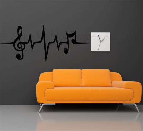music note bedroom music note wall decal music wall decal heartbeat wall